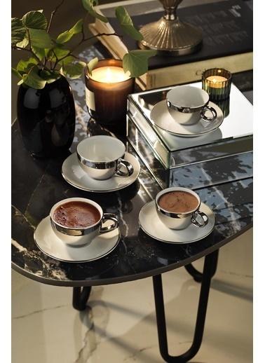 Kütahya Porselen Zeugma Kahve Takımı Platin Kaplama Renkli